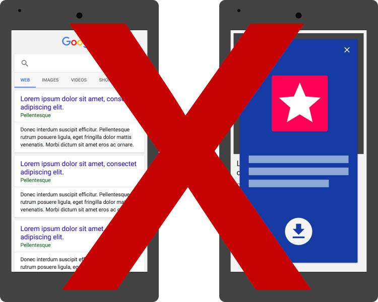 Google penalizara insterstitials apps